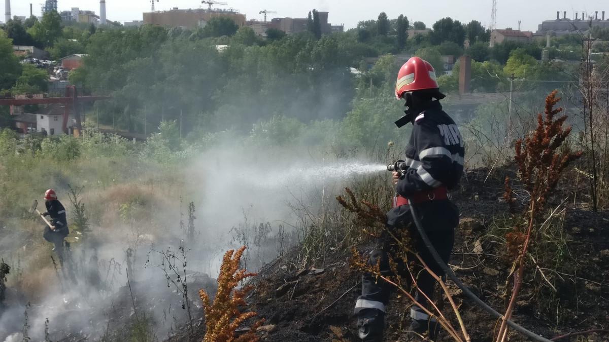 incendiu teren viran camp