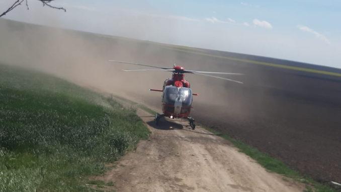 Elicopterul SMURD intervine în județul Tulcea. FOTO ISU Delta