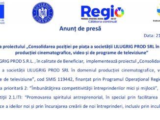 """Lansarea proiectului """"Consolidarea poziției pe piața a societății LILUGRIG PROD SRL în domeniul producției cinematografice, video și de programe de televiziune"""""""