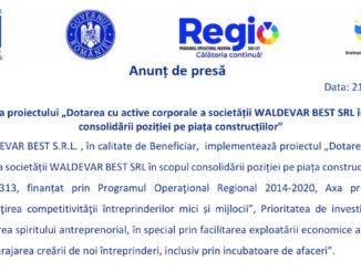 """Lansarea proiectului """"Dotarea cu active corporale a societății WALDEVAR BEST SRL în scopul consolidării poziției pe piața construcțiilor"""""""