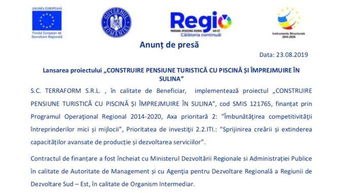 """Lansarea proiectului """"Construire pensiune turistică cu piscină și împrejmuire în Sulina"""""""