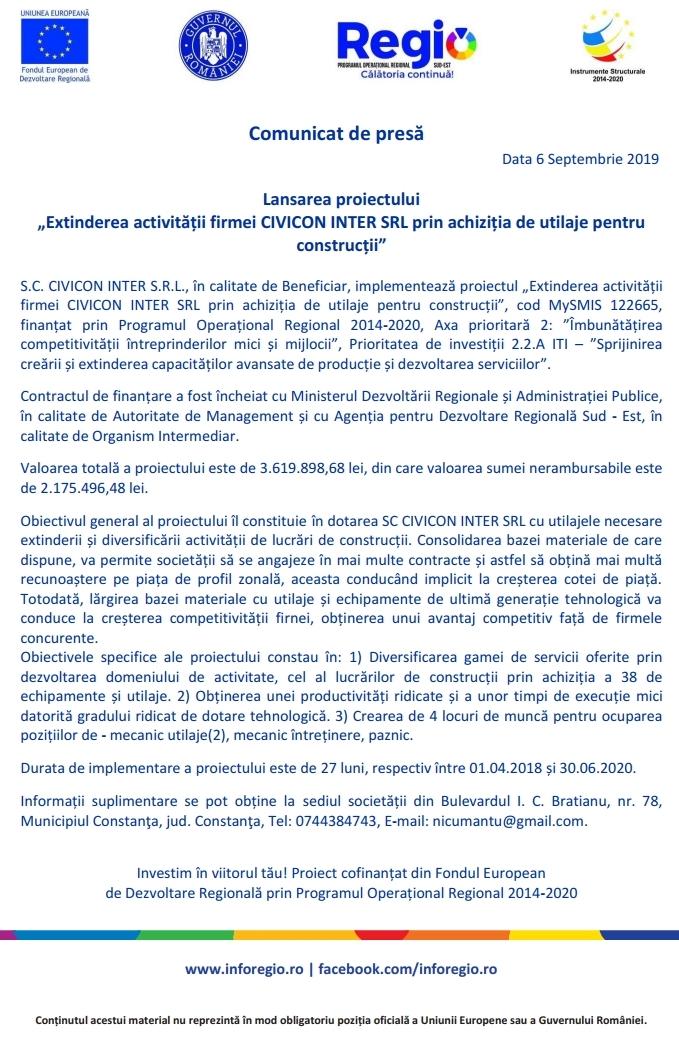 """Lansarea proiectului """"Extinderea activității firmei Civicon Inter SRL prin achiziția de utilaje pentru construcții"""""""