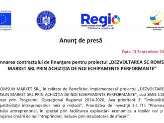 """Semnarea contractului de finanţare pentru proiectul """"Dezvoltarea S.C. Romsun Market SRL prin achiziția de noi echipamente performante"""""""