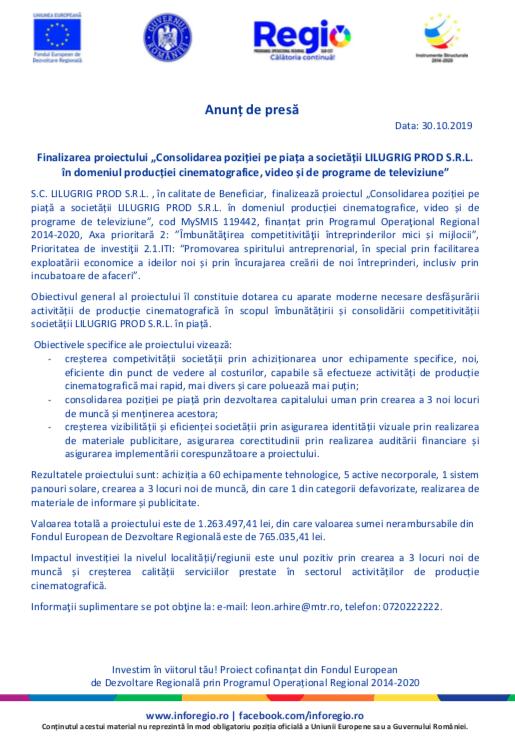 """Finalizarea proiectului """"Consolidarea poziției pe piață a societății LILUGRIG PROD SRL în domeniul producției cinematografice, video și de programe de televiziune"""""""