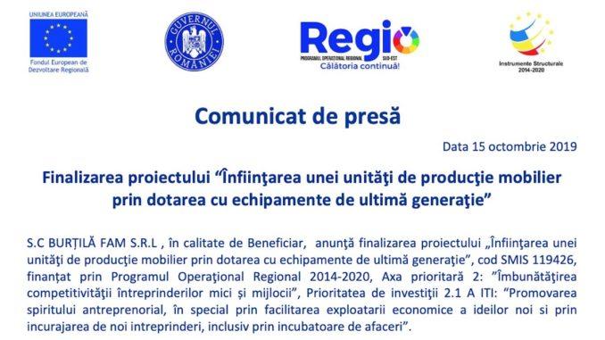 """Finalizarea proiectului """"Înfiinţarea unei unităţi de producţie mobilier prin dotarea cu echipamente de ultimă generaţie"""""""
