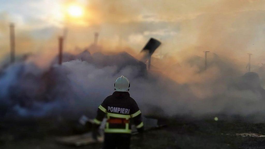 Intervenție de aproximativ 15 ore a pompierilor tulceni pentru salvarea unei ferme de animale. FOTO ISU Tulcea