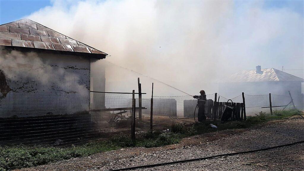 Incendiu izbucnit la o locuință din localitatea Mihail Kogălniceanu. FOTO ISU Tulcea