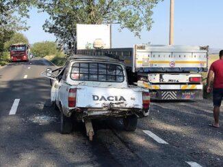 Două peroane rănite, într-un accident rutier petrecut între localitățile tulcene Somova și Isaccea. FOTO IPJ Tulcea