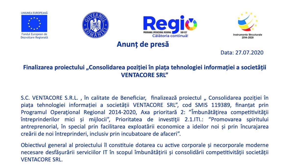 Finalizare proiect Ventacore SRL