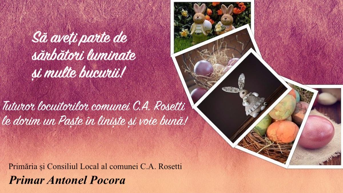 Felicitare Paste Primar Antonel Pocora C.A.Rosetti