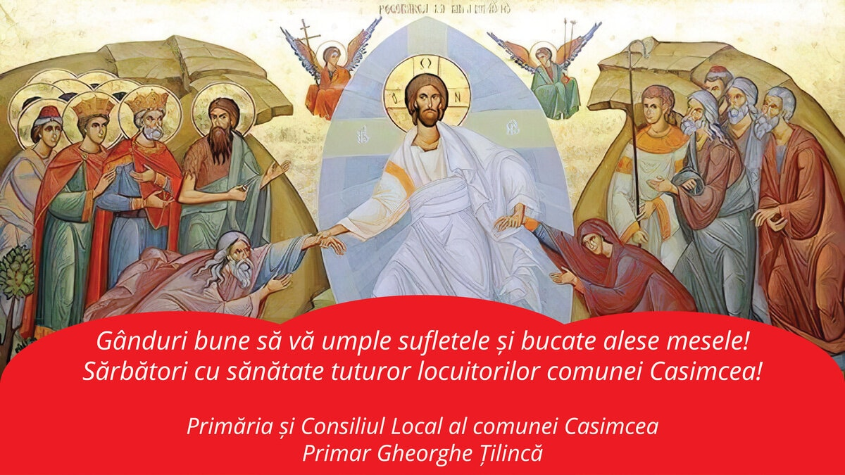 Felicitare Paste Primar Gheorghe Tilinca Casimcea