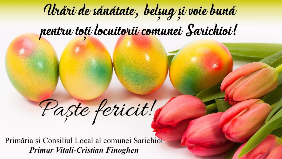 Felicitare Paste Primar Vitali-Cristian Finoghen Sarichioi